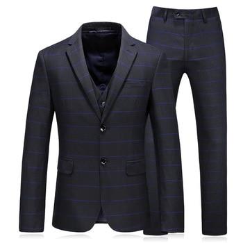 (Jacket+Vest+Pants) 2018 new style Men fashion Classic suits Men's  blue stripe business wedding Suit men Full dress