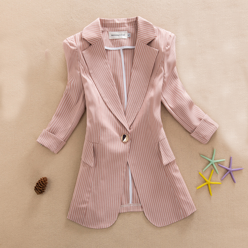 2019 New Summer Blazer Casual Stripe Blazer Femme Jackets For Women Outwear Fashion Work Style Suit Ladies Coat