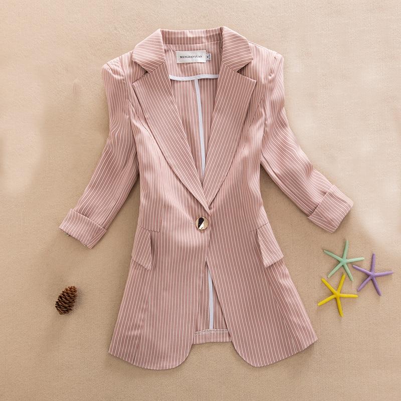 2019 New Summer Blazer Casual Stripe Blazer Femme Jackets For Women Outwear Fashion Work Style Suit Ladies Coat