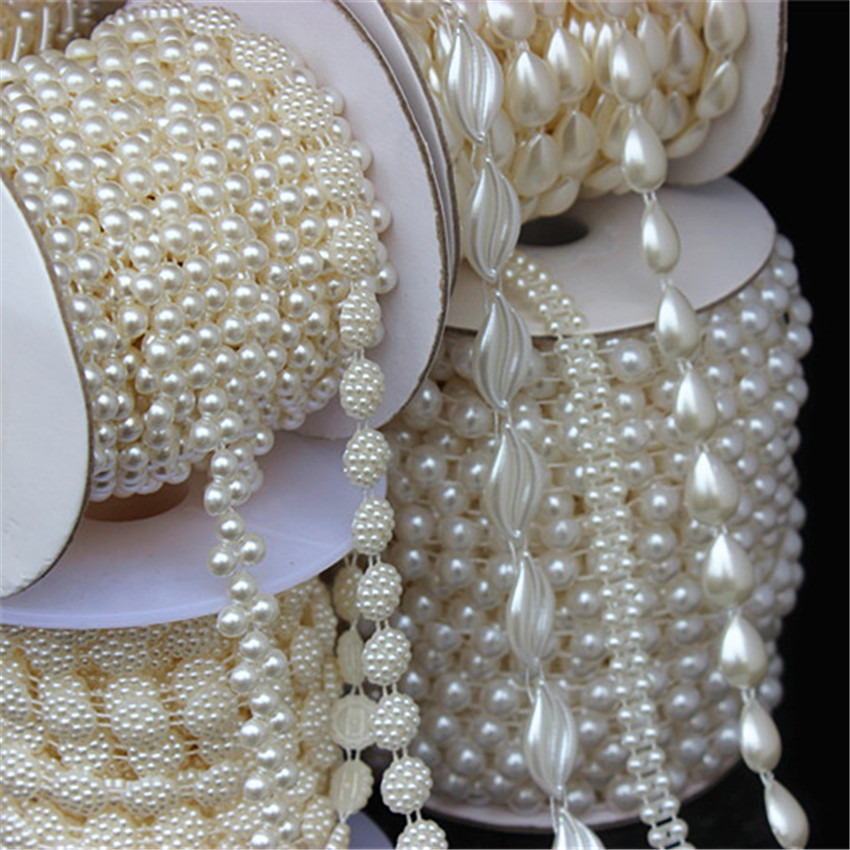 Micui 1-5yard Multi-size ABS Imitation Pearl Beads Chain Trim For DIY Wedding Dress Costume Applique Craft Accessories