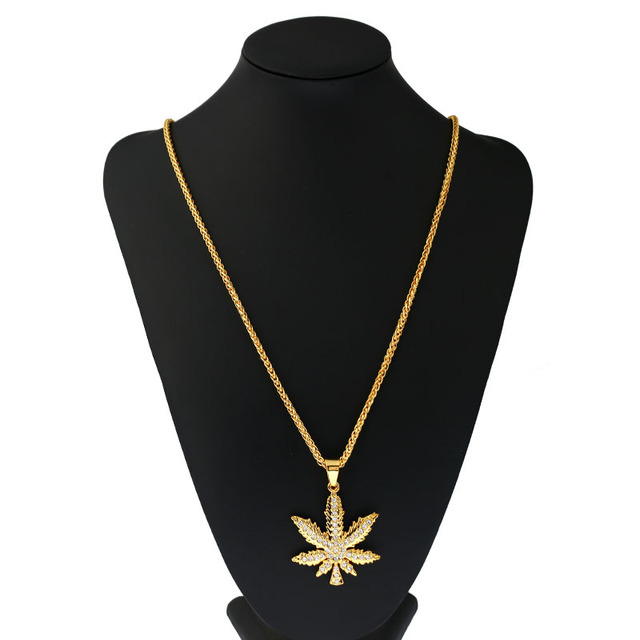 1pcs fashion necklace hemp pendants necklaces women men rhinestone 1pcs fashion necklace hemp pendants necklaces women men rhinestone hip hop jewelry gifts weed herb chains aloadofball Images
