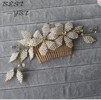 Flowers Women Hair CombS Wedding Acessories For Bridal Hair Accessories Jewelry Pearl Crystal White Gold Bridal Sets