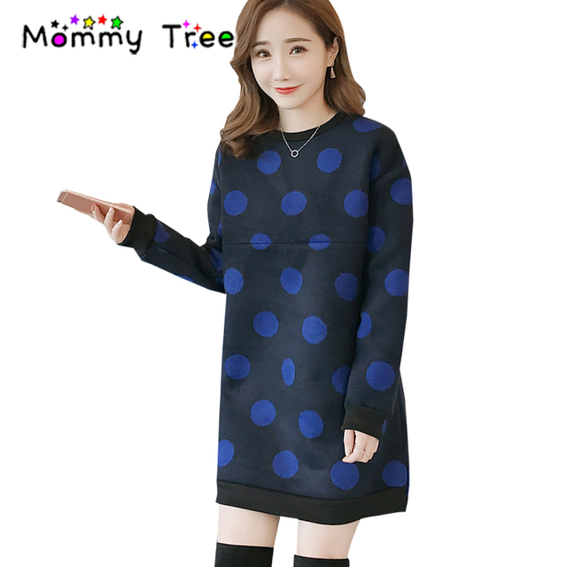 3d4fdb73893 New Polka Dot Maternity Dresses Winter Warm Nursing Clothes Plus Size  Women's Clothing for Feeding Breast Feeding Dress
