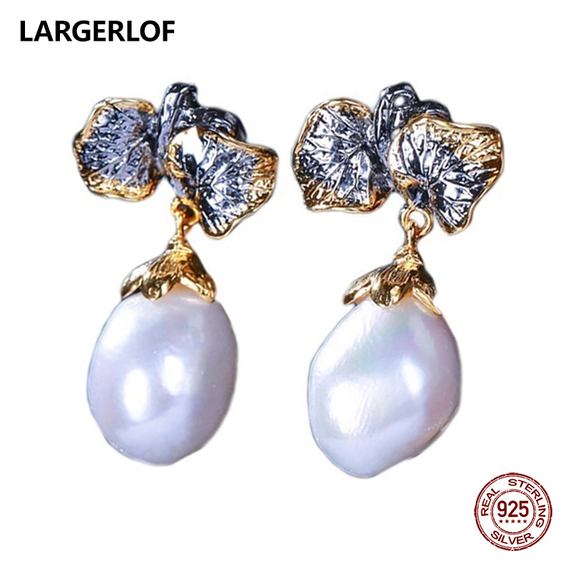 цена на LARGERLOF 925 Sterling Silver Natural Pearl Earrings Women Fine Jewelry White Baroque Pearls Earrings ED37117