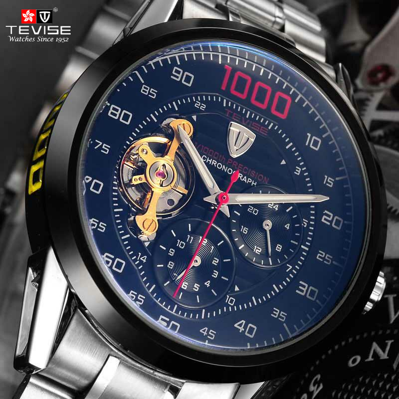 Tevise Brand Fashion Luxury  Men's Mechanica Watches Automatic Skeleton Watch Clock Male Business Waterproof Relogio Masculino luxury tevise brands men s mechanical wristwatches automatic male watches fashion skeleton steel man watch relogio clock