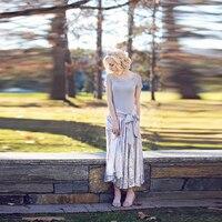 Amazing Sequin Skirt Elastic Waistline A Line Ankle Length Long Skirt Custom Made Silver Skirts Women Ribbons