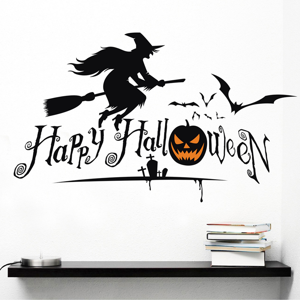halloween witch sticker decoration creative party flying witches black bats home wall decal glass showcase decorative - Flying Halloween Witch