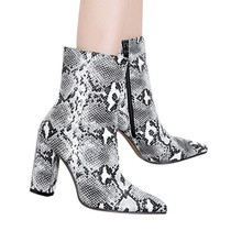 2019  New Shoes Woman Boot Snakeskin Pattern Toe Zip Thick Pointed Boots High Bottes Femme Nouveau #78