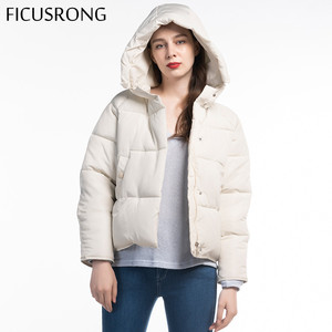 Image 5 - Fashion Solid Female Cotton Padded Autumn Jacket Parkas Women Hooded Winter Jacket Women Warm Thick Zipper Bread Coat FICUSRONG