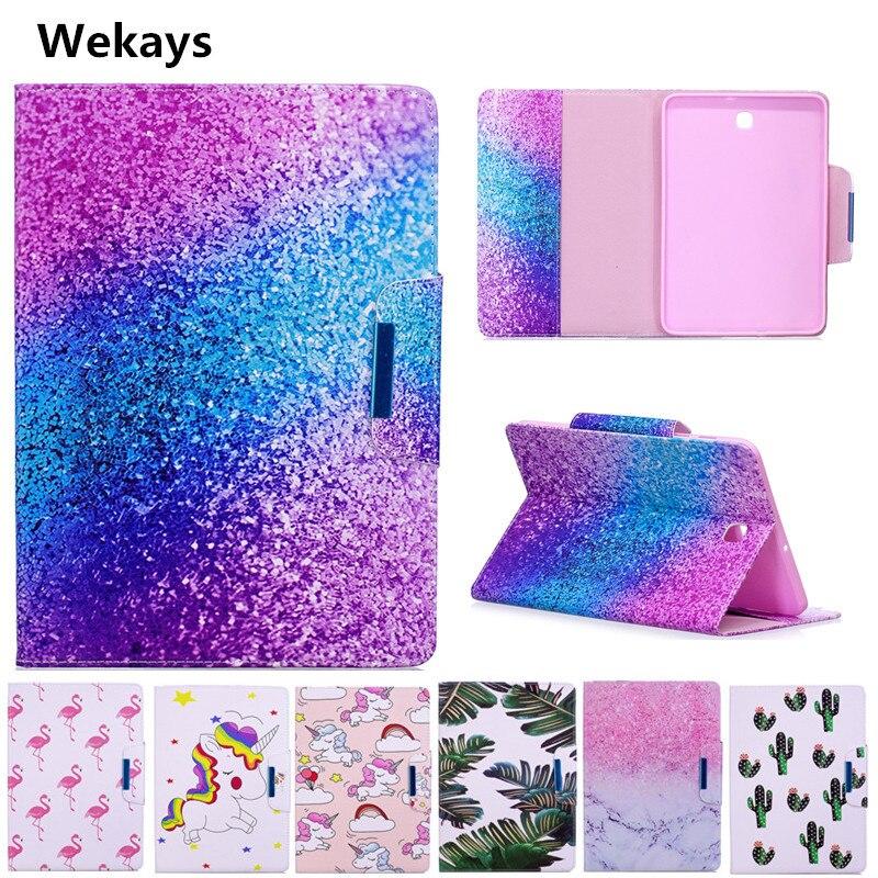 Wekays Case for Samsung Galaxy Tab S2 8.0 inch T710 T715 Cute Cartoon Flamingo Unicorn PU Flip Leather Cover Case Fundas Capa