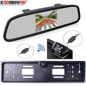 Koorinwoo eu 번호판 4.3 인치 자동 주차 시스템 hd 자동차 백미러 미러 모니터 자동차 후면보기 카메라 반전 레이더