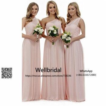 0422d6038fb6924 2017 на одно плечо Длинные платья подружек невесты из шифона, Свадебная  вечеринка, платье со стразами на свадьбу для Honer свадебное платье офиц.