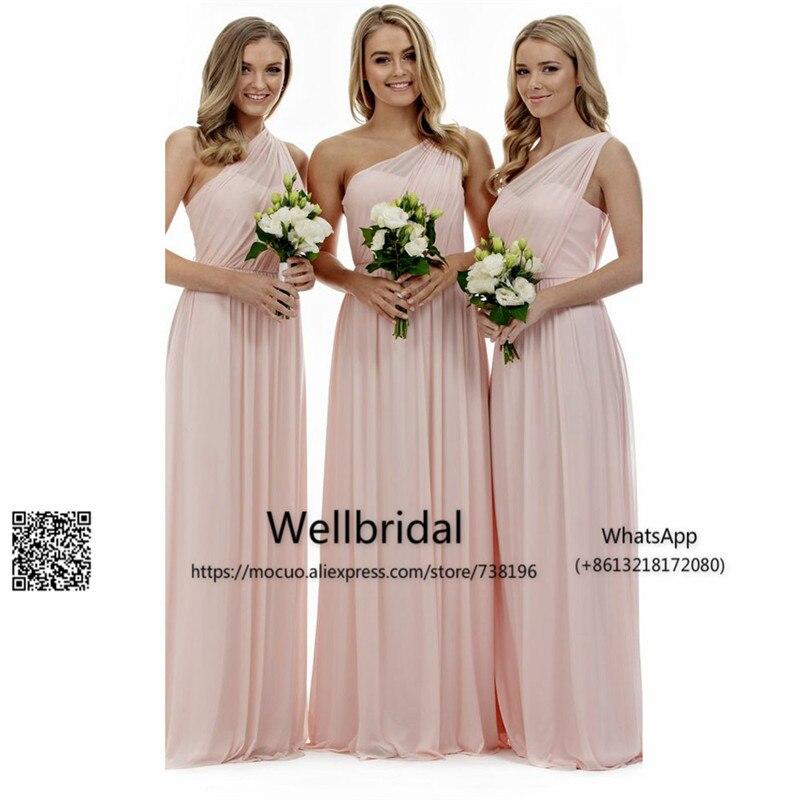 2017 One Shoulder   Bridesmaid     Dresses   Long Chiffon Wedding Party   Dress   Maid of Honer wedding Guest   dress   Formal   Bridesmaid     Dress