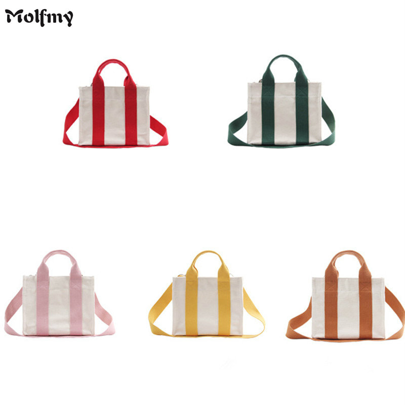 2018 New Women Striped Shopping Bags Girls Canvas Hit Color Shoulder Bags Ladies Casual Beach Bags Girls Student School Bags