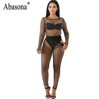 Abasona Summer Woman 2 Piece Sets Pearl Women Mesh Crop Top and Long Pants Femme Sexy Slim Club Bodycon Night Party Jumpsuits