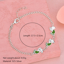 925 Silver Women Anklets Lovely Footprints Filled with Green Enamel for Fashion Jewelry