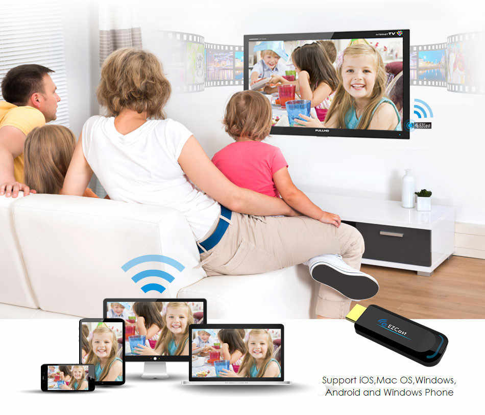 Slimy MiraScreen Ezcast 1080P HDไร้สายMiracast Dongle Airplay Android TV Stick HDMI 2.4G Wifi Chormecast Dongle DLNAสต็อก