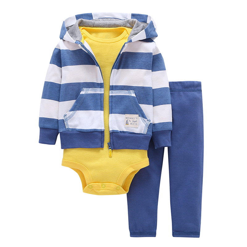 93e58a2a9d94 Autumn and winter kids baby boy clothes coat+bodysuit+pant 3 pcs ...