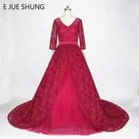 E JUE SHUNG Burgundy Lace Wedding Dresses 2018 V Neck 3 4 Sleeves Ball Gown Wedding