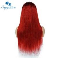 Сапфир волос полный Кружево парик Человеческие волосы Искусственные парики прямо Ombre Красный Тон волосяного покрова бразильский волос Кру