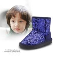 Boys Girls Winter Children Snow Boots Mid Calf Sequin Botas Infantil Chico Chicas Warm Plush Menina Menino Kids Boots TX81