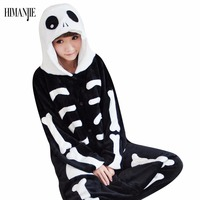 2017 Cartoon Pyjamas Skeleton Skull Flannel Pajamas Adults Cosplay Cartoon Animal Onesies Sleepwear Hoodie For Women Men