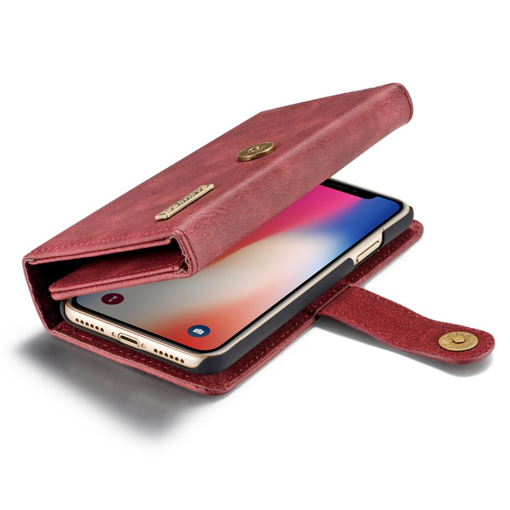 DG MING For iPhone X XR XS Max 8 7 6 Plus Retro Genuine Leather Flip Magnetic 2 in 1 Detachable Wallet Stand Case Cover in Wallet Cases from Cellphones Telecommunications