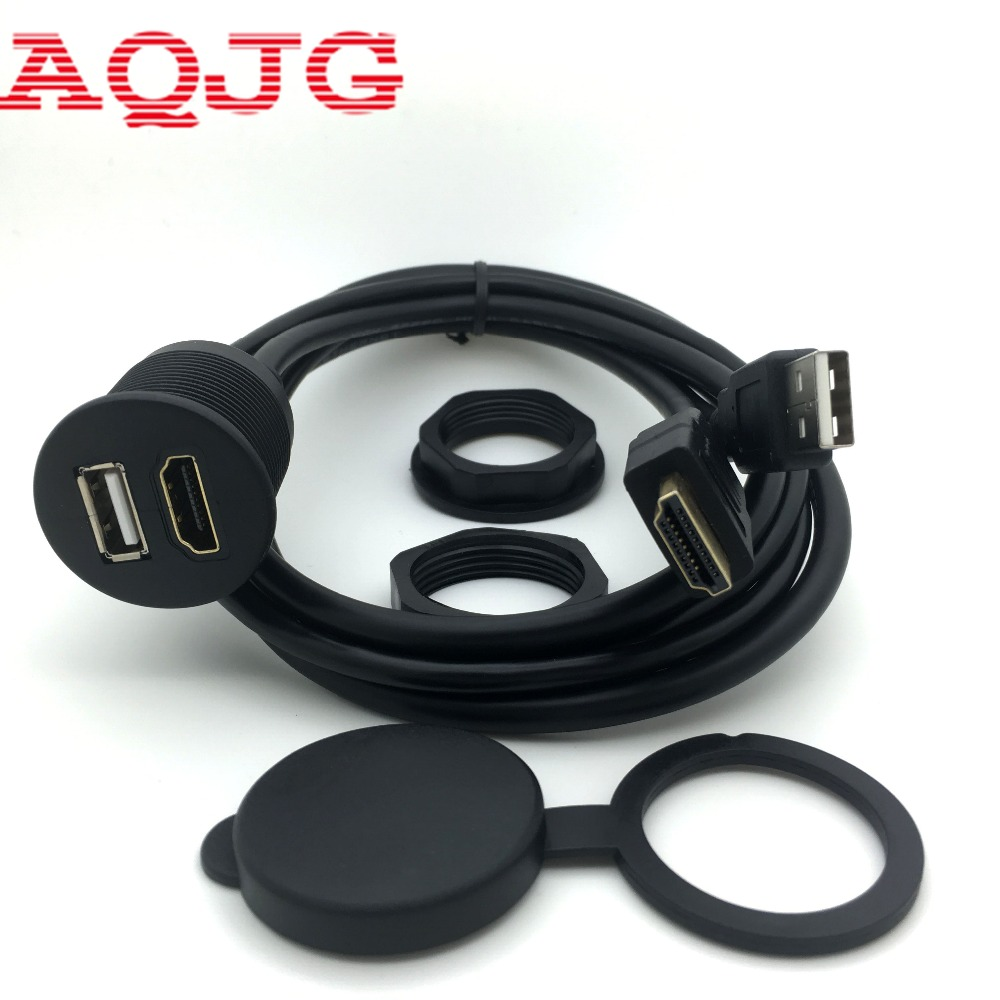 1pcs X 3ft Car USB HDMI AUX Extension Panel Flush Mount Cable For Car, Boat And Motorcycle