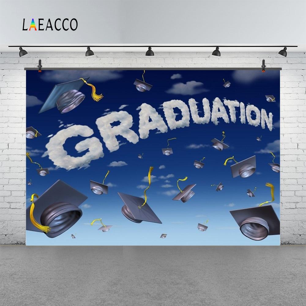 Laeacco Cartoon Sky Bakalářské Cap Graduation Fotografické - Videokamery a fotoaparáty - Fotografie 3