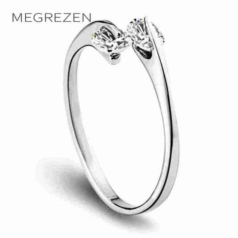 Hot Crystal Girl Adjustable Open Rings New 2018 Simple Zircon Stones Ring For Women Wedding Jewelry Accessories Gift B139-5