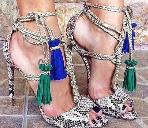 590836f90f9 US $72.0 40% OFF|Brand Summer 2017 New Fashion Women Snakeskin Tassel  Fringed Peep Toe Lace Up Thin Heels Dress High Heel Sandals Shoes-in High  Heels ...