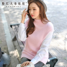 dabuwawa brand 2016 female long sleeve korean women's new sweaters ladies stand knitted pullovers light pink wholesale