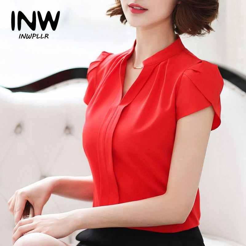47d647a65a3 Шифон Блузки для малышек 2018 новые модные летние тонкий Для женщин рубашка  элегантный сплошной Цвет короткий