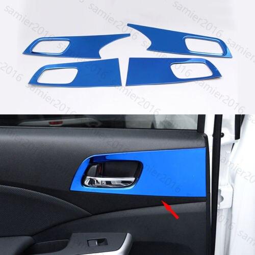 4x Blue Fit For Honda CRV CR-V 15-2016 Steel Inner Door Handle Panel Cover Trim ветровик rein для honda cr v iii 2006 2012 кроссовер на накладной скотч 3м 4 шт