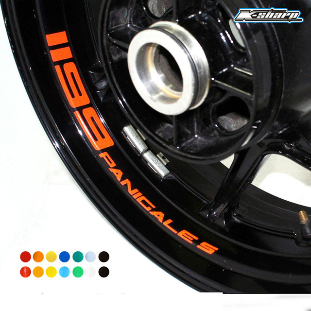MTKRACING Free shipping 8 X CUSTOM INNER RIM DECALS WHEEL Reflective STICKERS STRIPES for DUCATI 1199 PANICAL