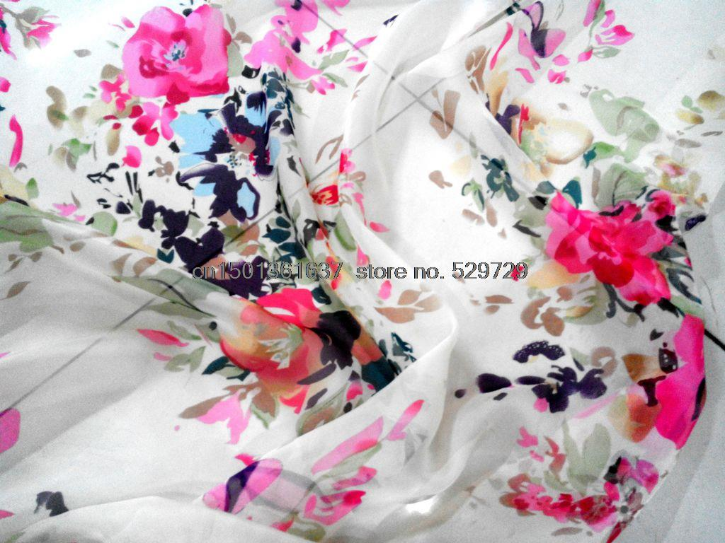 white silk fabrics advanced digital printing red dresses wide scarf scarves fabric specials - Freya Wong's Store store