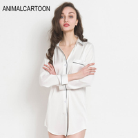 2019 Summer Solid Full Long Sleeve Sleep Top Women's Night Shirts Stain Sleep Wear With Pocket Long Style Negligees White Blue