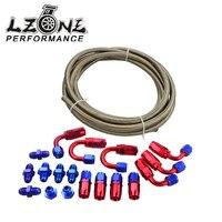 LZONE RACING-AN6 Acier Inoxydable Tressé Tuyau + Raccord pour Tuyau Souple Fin Adaptateur KIT JR7112 + SL10AN6-RB