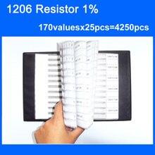 จัดส่งฟรี1206 SMDต้านทานหนังสือตัวอย่าง1%ความอดทน170valuesx25pcs = 4250ชิ้นต้านทานชุด0R ~ 10เมตร