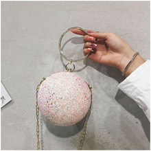 Women Ball Evening Bags Ring Handle Round Shaped Clutch Purse Clutches Chain Shoulder Handbags Drop Shipping etaill pink lace floral women clutch flower diamonds lady evening bags round shaped chain shoulder purse party evening bag