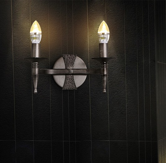 American Loft Style Vintage LED Wall Light Fixtures Iron Candle Wall Sconces  For Dining Room Bedside