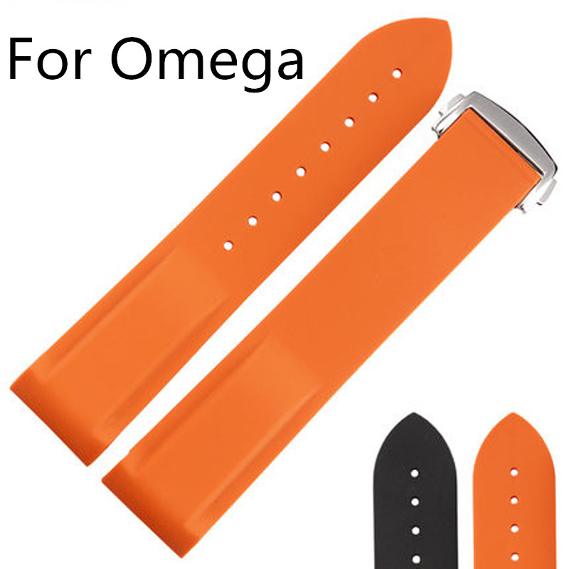 ФОТО Luxury Band,18MM 20MM 22MM Natural Rubber Watch Strap With Butterfly Buckle,Waterproof Watchband For Omeg a With Original Logo