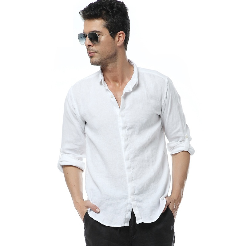 Buy 2016 new white linen shirts men long for Where to buy casual dress shirts
