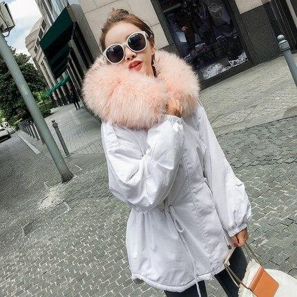 Nouveau White grey Épaissir Vestes Col D'hiver Grand 2018 Invierno Chaqueta Fourrure St391 Femmes Mujer Ouatée black Capot Parkas Longue De Manteau wRA6tqUn