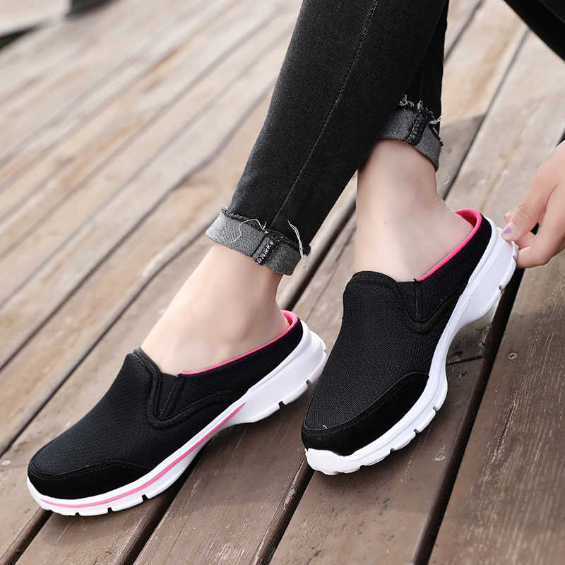 Mules Women Flats Heels Casual Slippers Shoes Female Soft Plus Wide  Elegant Beauty Classics Mature Retro Flat Mules Big Size 40