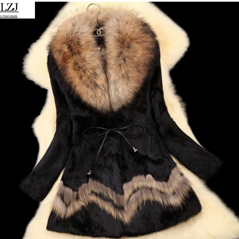 LZJ fashion ladies leather rabbit fur raccoon hair winter jacket natural fox fur collar long coat large size long sleeve coat