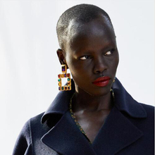 First  lady  Multicolored Square Drop Earrings