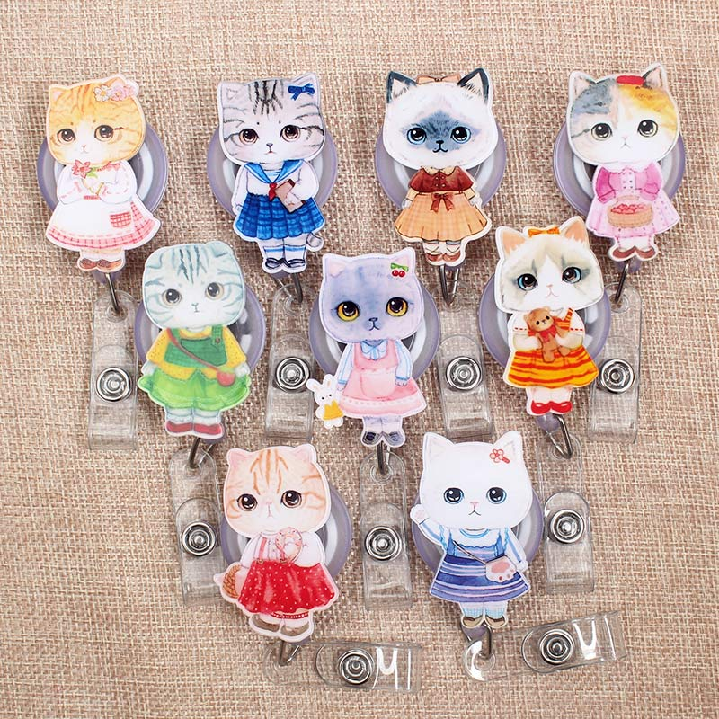 Cartoon Cute Colors Cat Retractable Creative Badge Reel Student Nurse Girls Exhibition Enfermera Name Card Chest Boy Card Holder