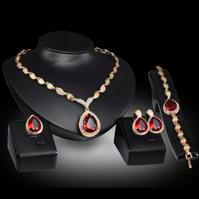 African costume gold plated crystal Red Blue Gem Pendant necklace earrings bracelet Ring women bridal jewelry sets