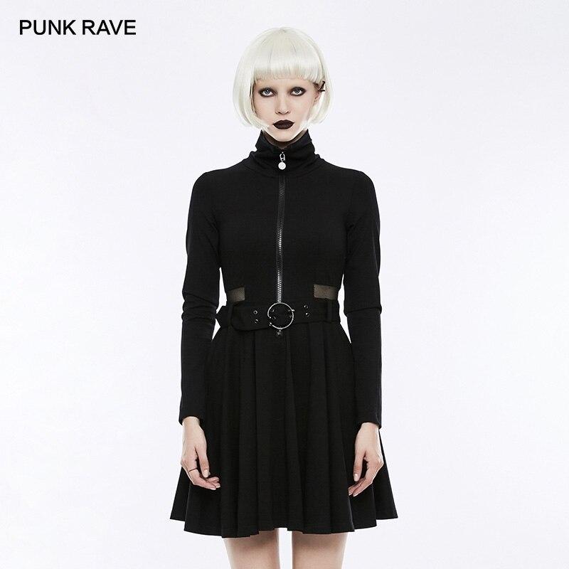 PUNK RAVE vrouwen Gothic Dagelijks Zwarte Lange Mouw Knappe Geplooide Jurk Punk Mode Mesh Taille Spliced Vrouwen Jurk Streetwear-in Jurken van Dames Kleding op  Groep 1